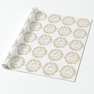 Papel De Presente 50th Aniversário dourado branco personalizado do