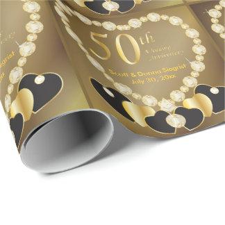 Papel De Presente 50th Texto do aniversário de casamento dourado |