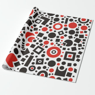 Papel De Presente 80s vermelho & teste padrão geométrico branco