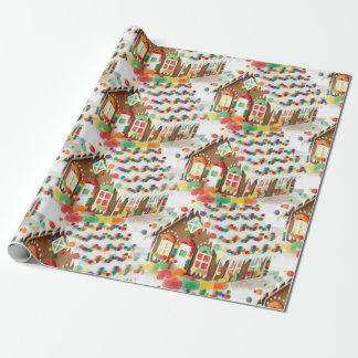 Papel De Presente A casa de pão-de-espécie caçoa o Natal