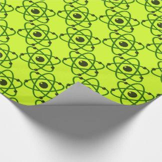Papel De Presente A ciência é design verde de néon legal dos átomos