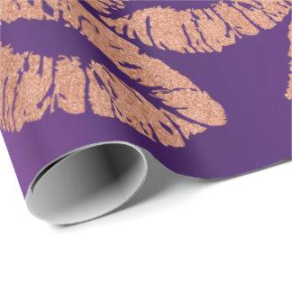 Papel De Presente A composição de vidro dos lábios do beijo cora