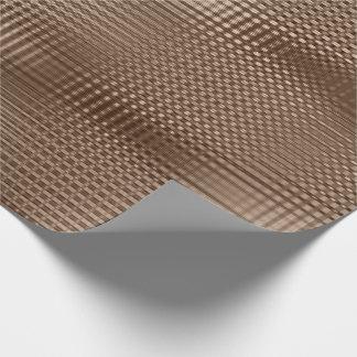 Papel De Presente A grade metálica bege de bronze listra o Lux magro