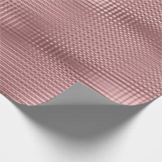 Papel De Presente A grade metálica do rosa do rosa listra o Lux