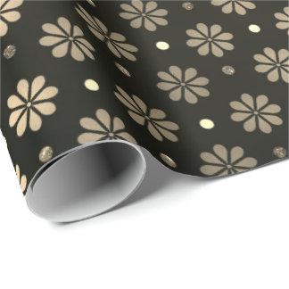 Papel De Presente A margarida pontilha elegante preto floral do ouro