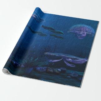 Papel De Presente A noite ilumina o aquário das medusa