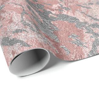 Papel De Presente A prata derretida cinzenta cora metal brilhante de