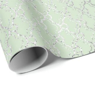 Papel De Presente A prata do verde da hortelã do art deco escala o