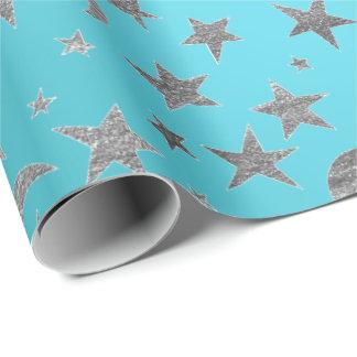 Papel De Presente A prata elegante Stars a água-marinha de turquesa