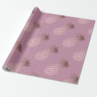 Papel De Presente abacaxi tropical do ouro cor-de-rosa elegante do