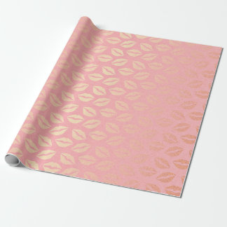 Papel De Presente Abraços dourados Pastel cor-de-rosa delicados do