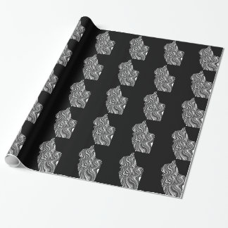 Papel De Presente Abstract Black and White Cat Swirl Monochroom