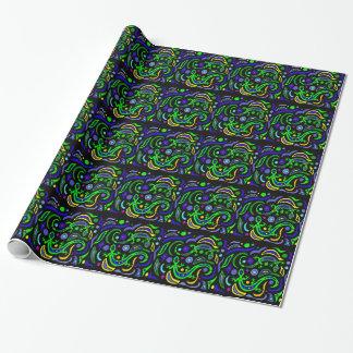 Papel De Presente Abstrato verde da arte do geco