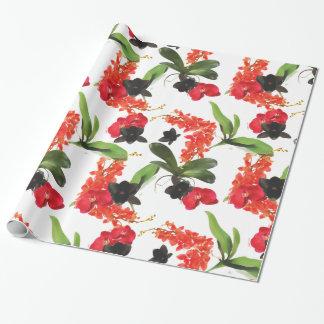 Papel De Presente Aguarela preta e vermelha da arte das orquídeas