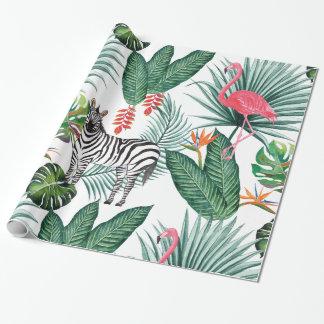 Papel De Presente Aguarela tropical da folha da zebra moderna do