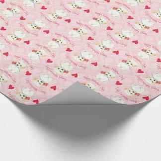 Papel De Presente Algodão cor-de-rosa dos namorados