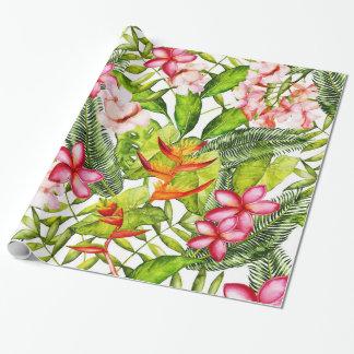 Papel De Presente Aloha flores exóticas tropicais da selva