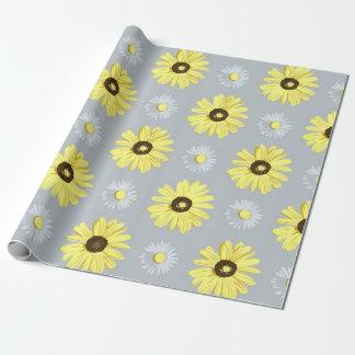 Papel De Presente Amarelo branco das margaridas no papel cinzento do