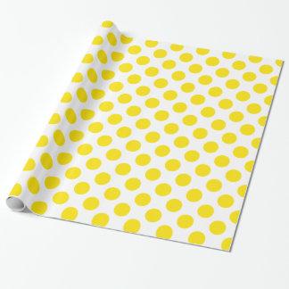 Papel De Presente Amarelo das bolinhas