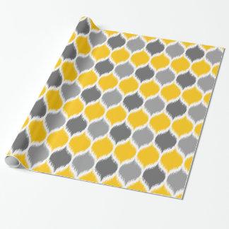 Papel De Presente Amarelo e cinza do motivo do Weave de Ikat
