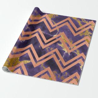 Papel De Presente Ameixa do roxo de Chevron do ziguezague do mármore