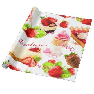 Papel De Presente Amor dos doces da morango da aguarela
