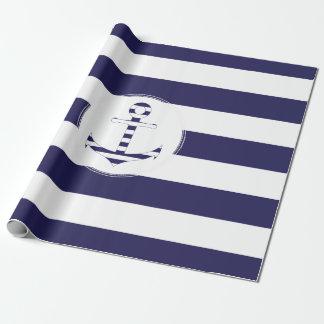 Papel De Presente Âncora náutica Stripy