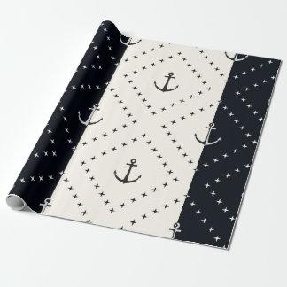 Papel De Presente Âncoras náuticas no creme e no preto dos diamantes