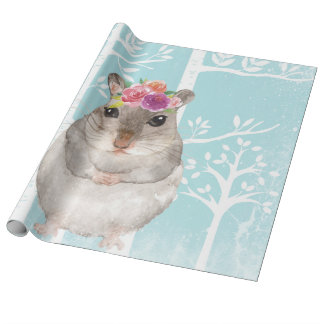 Papel De Presente Animal feliz com as flores no Floresta-Hamster