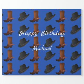 Papel De Presente Aniversário das botas e do chapéu de vaqueiro