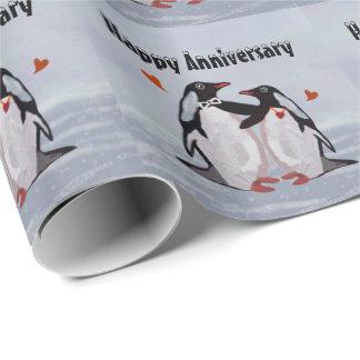 Papel De Presente Aniversário do amor do pinguim