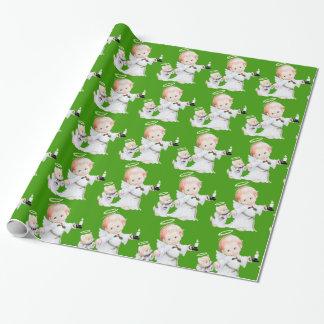 Papel De Presente Anjo bonito e gato do bebê do Natal no verde