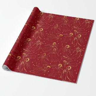 Papel De Presente Anjos dourados do Natal em vermelho escuro