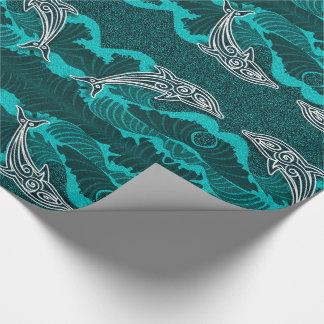 Papel De Presente Aqua brilhante Sealife com golfinhos e ondas