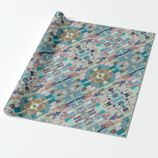 Papel De Presente Aqua e design azul da tapeçaria da edredão