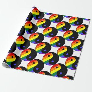 Papel De Presente Arco-íris Yin e Yang - cores do arco-íris do
