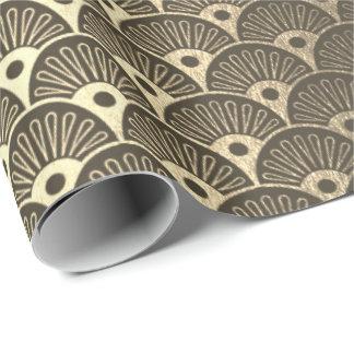 Papel De Presente Art deco metálico dos Seashells do ouro mais