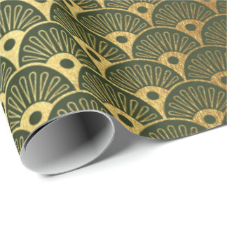 Papel De Presente Art deco metálico dos Seashells do verde da