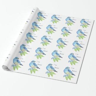 Papel De Presente Arte azul do pássaro do Bluebird da montanha da