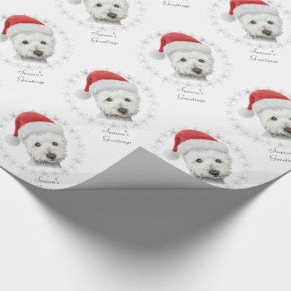 Papel De Presente Arte do cão de Westie do Natal