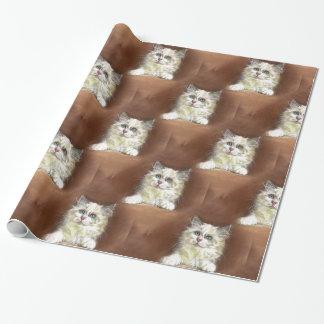 Papel De Presente Arte do gatinho de Ragdoll