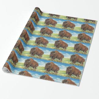 Papel De Presente Arte dos animais selvagens do bisonte americano do
