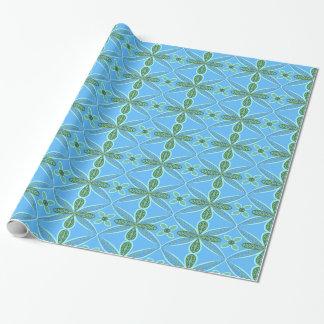 Papel De Presente Arte floral azul e verde