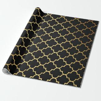 Papel De Presente Arte moderna Deco Vip geométrico preto dourado
