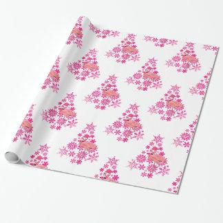 Papel De Presente Árvore de Natal cor-de-rosa do floco de neve do