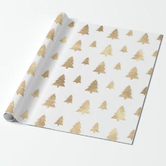 Papel De Presente Árvore de Natal dourada branca dos feriados