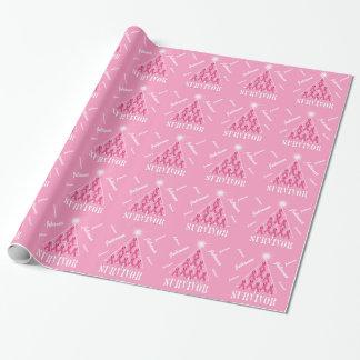 Papel De Presente Árvore de Natal em fitas cor-de-rosa com nome