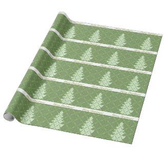 Papel De Presente Árvore de Natal verde da cor damasco