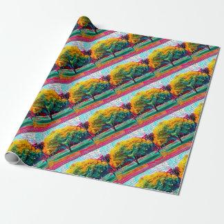 Papel De Presente Árvore do outono em cores vívidas