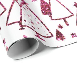 Papel De Presente As árvores de Natal Borgonha cor-de-rosa Stars o